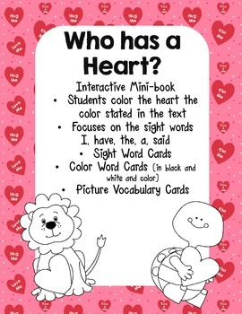 Valentine's Day Emergent Reader, Color Words