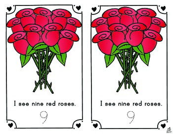 Valentine's Day Emergent Reader: Counting Roses 0-12
