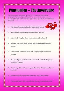 Valentine's Day English Literacy Worksheet Activities