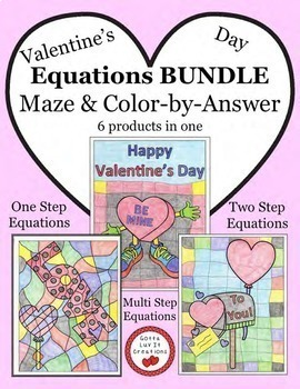 Solving Equations Valentine's Day Math Maze & Color by Number Super Bundle