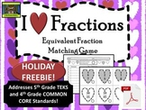 5th Grade Valentine's Day Equivalent Fractions FREEBIE (TEKS, Common Core)***PDF