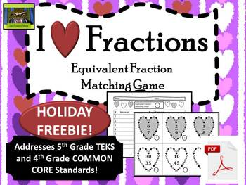 5th Grade Valentine's Day Equivalent Fractions FREEBIE (TE