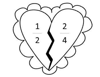 Valentine's Day Equivalent Fractions Matching Game