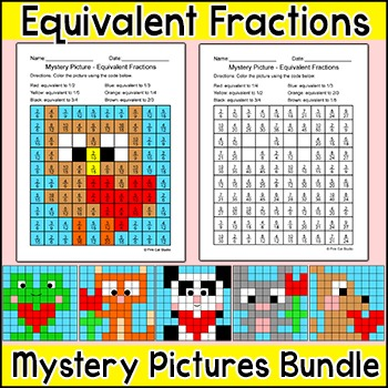 Valentine's Day Math: Equivalent Fractions Mystery Pictures
