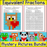 Valentine's Day Math Equivalent Fractions Center: Mystery Picture Coloring Pages