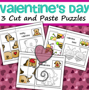 Valentine's Day Cut and Paste Puzzles FREE