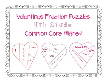 Valentines Day FREEBIE 4th Grade Aligned Fraction Puzzles