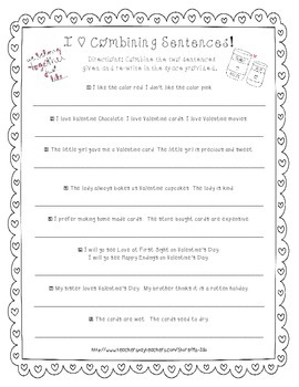 Valentine's Day FREEBIE *Combining Sentences* ELA Common Core Aligned