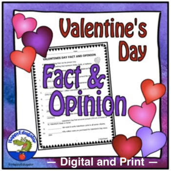 Valentines Day Fact and Opinion - Practice Worksheet