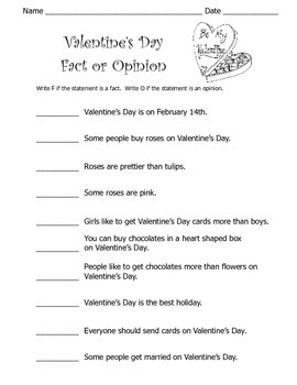 Valentine's Day Fact or Opinion Worksheet