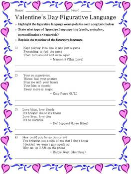 Valentine's Day Figurative Language Songs