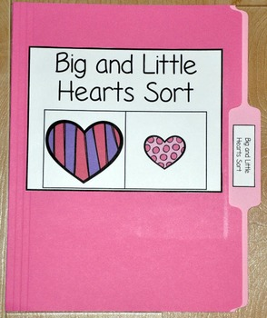 "Valentine's Day File Folder Game--""Big and Little Hearts Sort"""