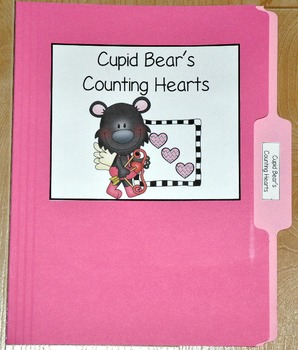 """Valentine's Day File Folder Game--""""Cupid Bear's Counting Hearts"""""""