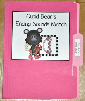"Valentine's Day File Folder Game--""Cupid Bear's Ending Sounds"""