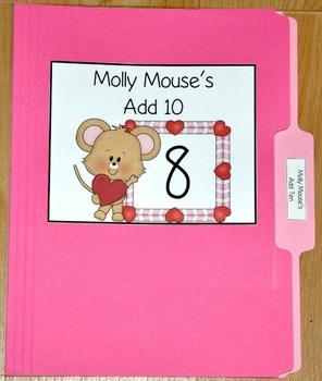 """Valentine's Day File Folder Game--""""Molly Mouse's Add Ten"""""""