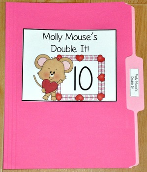 """Valentine's Day File Folder Game--""""Molly Mouse's Double It"""""""