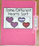 """Valentine's Day File Folder Game--""""Same and Different Hearts Sort"""""""