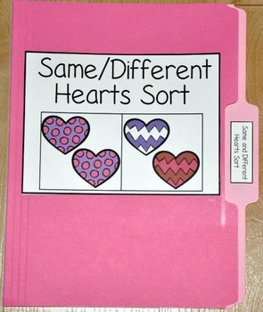 "Valentine's Day File Folder Game--""Same and Different Hearts Sort"""