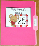 """Valentine's Day File Folder Game--""""Molly Mouse's Take Five"""""""