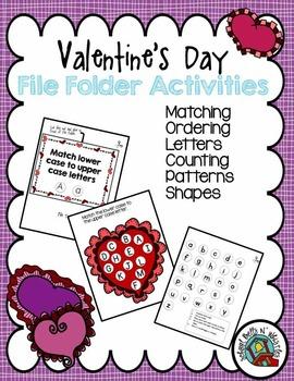 Valentine's Day File Folder Set/ shapes, patterns, alphabet, counting
