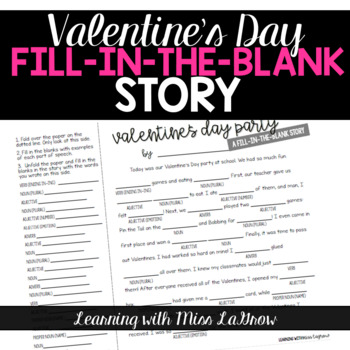Valentines Day Fill In the Blank Story Writing Activity - like Mad Libs
