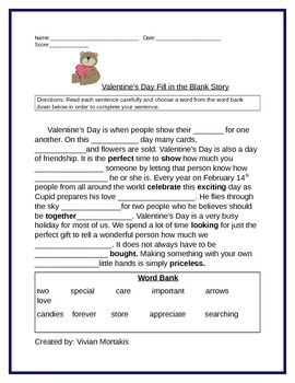 Valentine's Day Fill in the Story and Synonym Fun Reading Quiz