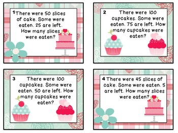 Valentine's Day Algebra Math Task Cards (Second Grade)