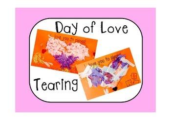 Valentine's Day  Craft on Card - Fine Motor Activity Teari