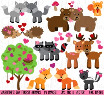 Valentine's Day Forest Animals Clipart Clip Art - Commercial and Personal Use