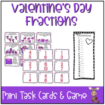 Valentine's Day Mini Task Cards: Fractions