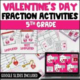 Valentine's Day Fraction Activities | Digital Valentine Math  - 5th Grade
