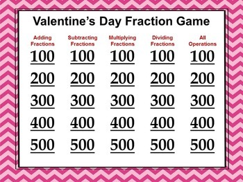 Valentine's Day Fraction Game Similar to Jeopardy