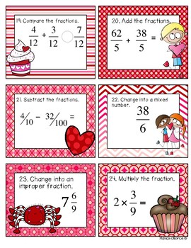 Valentine's Day Fraction Math Task Cards for 4th Grade