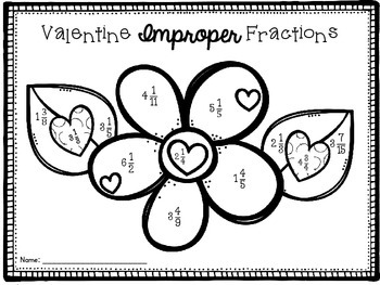 Valentine's Day Fraction Solve Then Color Math Activities