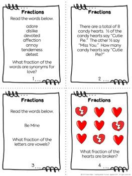 Valentine's Day Math - Fraction Task Cards