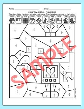 Valentine's Day Math Color by Fractions Activity: Robots, Ladybug, Frog