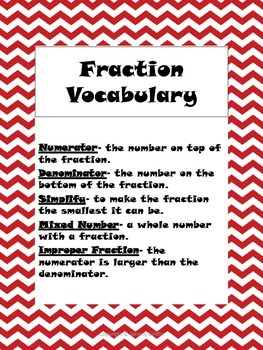 Valentine's Day Fractions, Vocabulary & Fill-in-the-blank