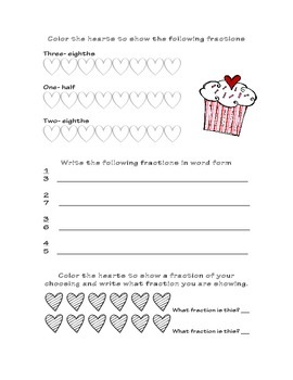 Valentines Day Fractions Worksheets and Game!