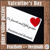 Valentine's Day Fractions and Decimals - 4th and 5th Grade