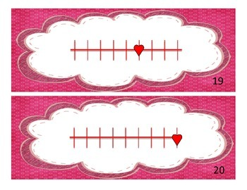 Valentine's Day Fractions on a Number Line Task Cards
