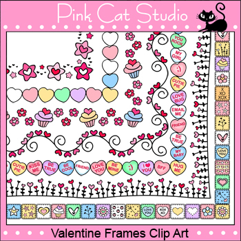 borders valentines day frames borders clip art personal commercial use - Valentines Picture Frames