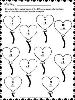 Valentine's Day Free Subtraction Worksheet