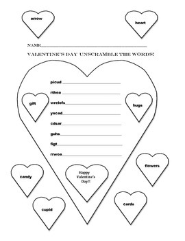Free Downloads Valentine's Day  Unscramble the words!
