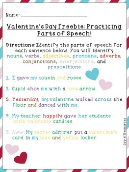 Valentine's Day Freebie: Practicing Parts of Speech!