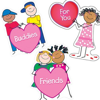 Valentine's Day Friends and Buddies Cut-Outs - Stick Kids Theme