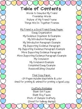 Valentine's Day Friendship Essay & Craftivity