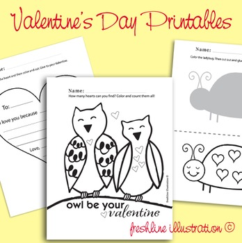 Valentine's Day Fun Acitivies, Cut and Paste, Preschool, K, Printable
