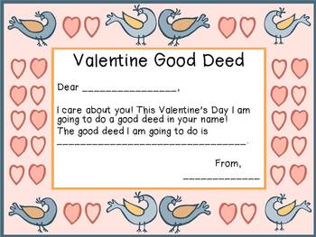 Valentine's Day Fun Actvities-Math and Literacy- Good Deed Activity