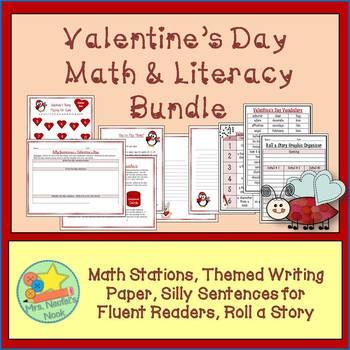 Valentine's Day Math & Literacy Bundle - Writing Task, Mat