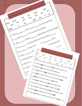 Valentine's Day Fun:  Homonyms Printable GRAMMAR